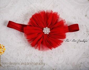 Baby Girl Headband - Newborn Headband - Red Tulle Flower - Infant Headband - Baby Headband - Toddler Headband - Flower Headband