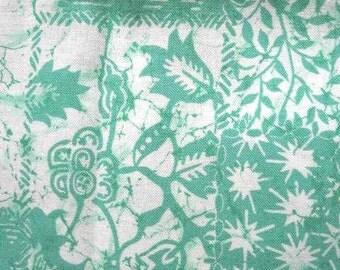 Stunning Vintage Cotton Turquoise Green BATIK Print
