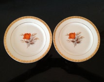 Set of Two Triumph American Limoges Vermillion Rose Dessert Plates