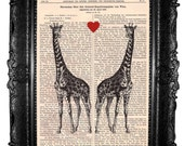 Giraffes love- ORIGINAL ARTWORK,  Art print Hand Painted