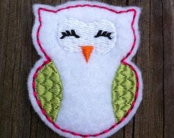Sleepy Owl Embroidery Design Feltie