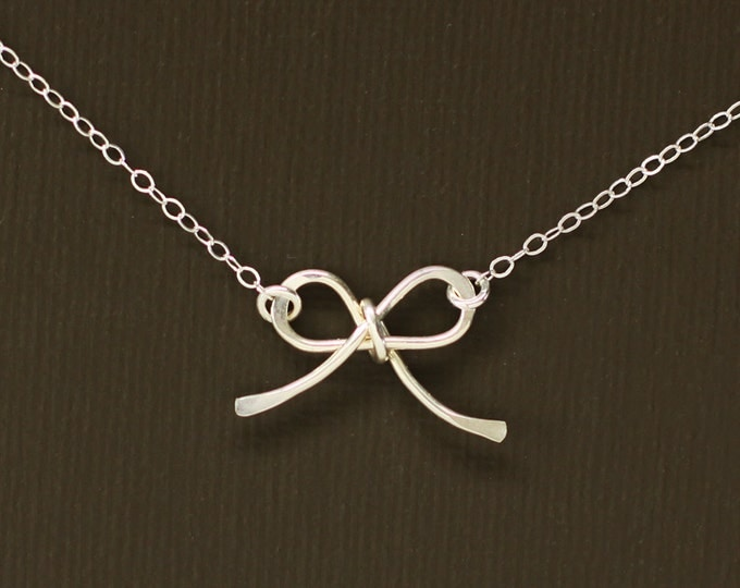 Sterling Silver Bow Necklace - Sterling Silver