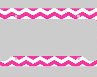 Hot Pink and White - Chevron - Petite- License Plate Frame