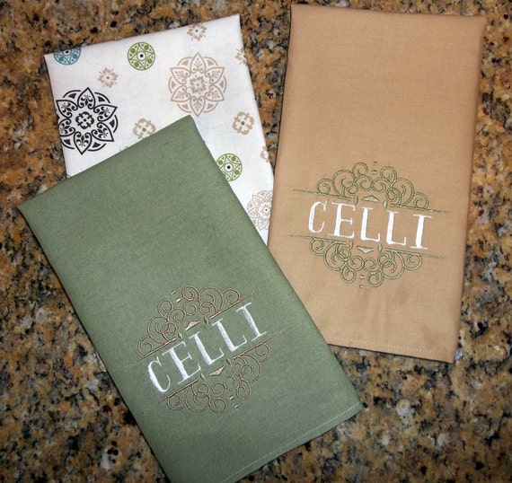Kitchen Dish Cloth Towel Set, Personalized Wedding Bridal Shower Gift ...
