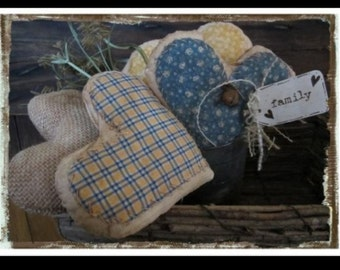 Spring primitive 4 hearts blue yellow burlap FAMILY prim decor rusty bell pin tagged