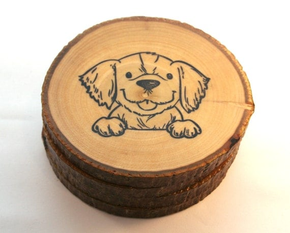 Items similar to handmade wooden puppy coasters hand for Handmade drink coasters