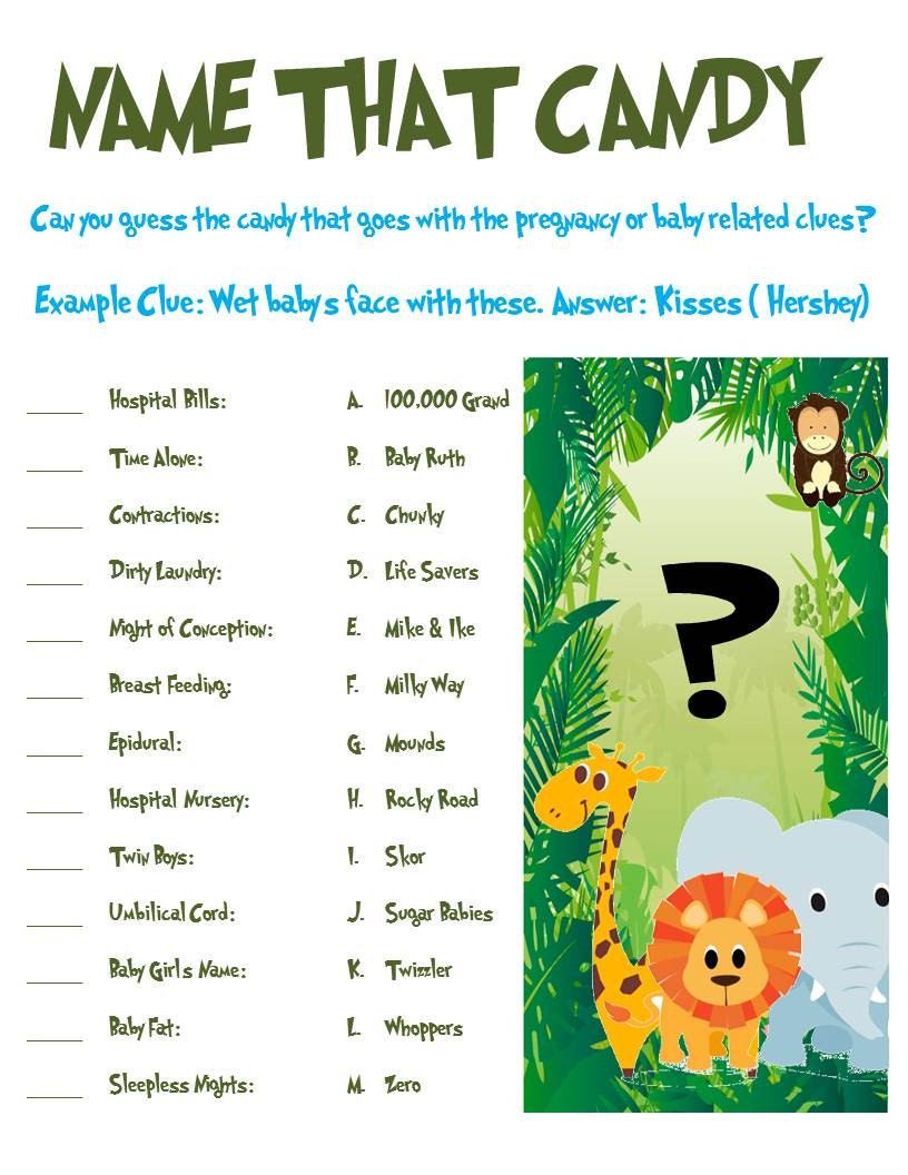 jungle animal baby shower game name that candy
