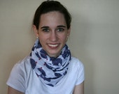 Doctor Who Inspired Bow Tie & Fez Blue Elephant on white: Voile Infinity Scarf
