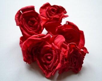 6 Red Rose Flowers, Weddings, crafts, sewing