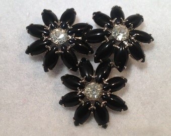 Black and Clear Brooch