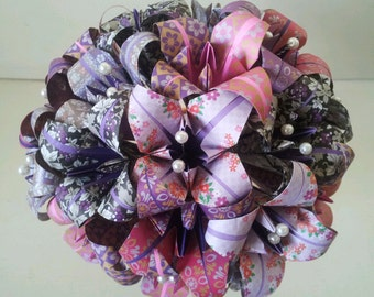 Origami Paper Flowers Bouquet Lily Wedding Mother's Day Lilac Purple Muove African Violet Pearls