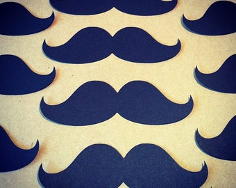 """25 Mustache Die Cuts -  4"""" Black - DIY photo props, DIY cupcake toppers, gift tags, party decor"""