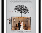 Parents Thank You Gift, Wedding GIft for Parents from Bride and Groom, Personalized Photo, Custom Colors, Names and date 11x14 Print
