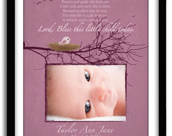 """Personalized Baby Girl Christening Gift """"Lord, Bless This Little Child..."""" Baby shower gift, Nursery Art Print, Baptism Gift 11x14"""