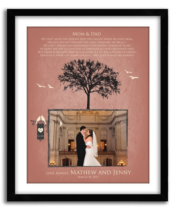 Wedding Gifts From Parents To Bride And Groom: Wedding Gift For Parents Of Bride And Groom Personalized