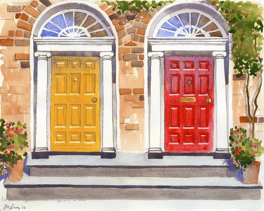 ?zoom & Door Art 13x19 LARGE print Dublin Georgian Doors Red and pezcame.com