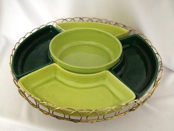 Vintage Tray Lazy Susan Relish Serving  Tray - Two Tone Green Gold Wire