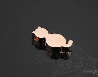 S417-20pcs-Pink Gold Plated-Cat