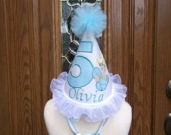 Girls 1st Birthday Party Hat - Cinderella Birthday Hat -  Princess Birthday  Hat