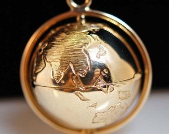 SALE- 14k Yellow Gold and Diamond Flip Globe Pendant