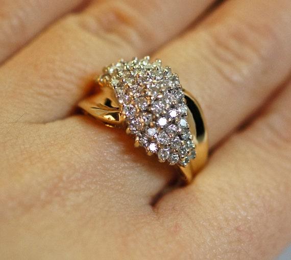 Vintage Diamond Waterfall Cluster Ring 10k By