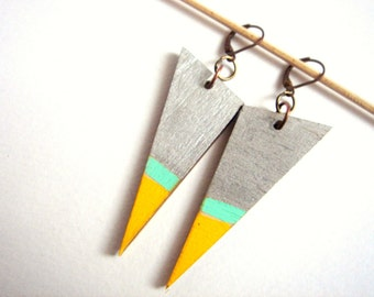Wood Geometric Earrings , Wood Neon Triangles Earrings,Geometric Jewelry