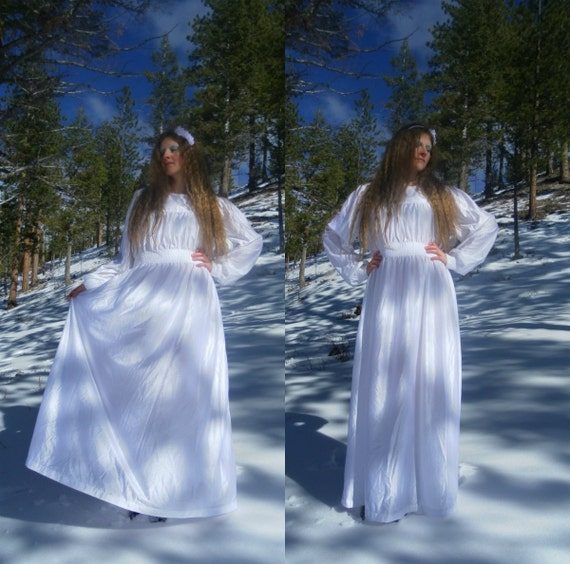 Faery Angel Dress - vintage boho, bridal, hippie, renaissance fair, white princess dress - size M, L, XL