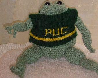 "Hand knit ""frog"" bendable doll with sweater"
