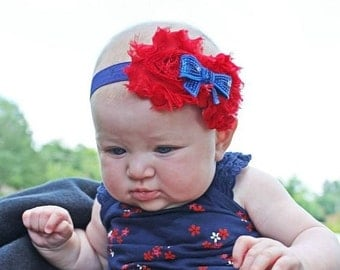 Red and Blue Shabby Chic Headband, Photo Prop, Infant Headband, Girl's Headband, Toddler Headband