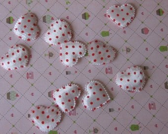 Cute white padded hearts with red red dots, polkadot hearts