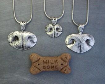 Nose Print Necklace, Dog Nose Jewelry, Custom Dog Nose Pendant or Keychain - Medium
