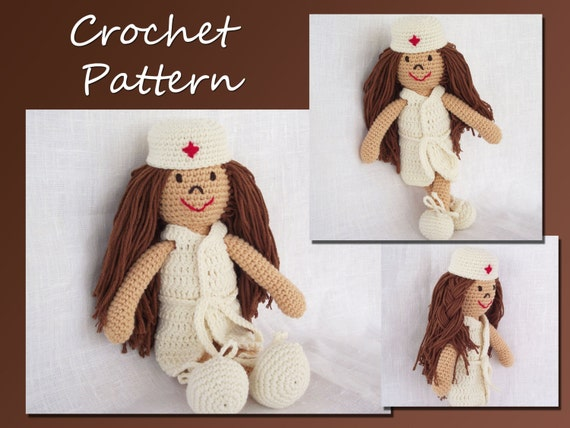 Amigurumi Doll Crochet Pattern, Doctor-Nurse Pattern, CP-112