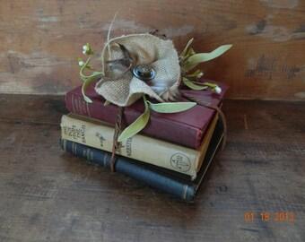 Book Centerpiece with burlap flower