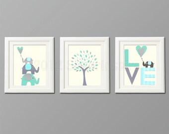 Grey and blue, teal Nursery Art Print Set, Kids Room Decor, Children Wall Art - Tree, love, baby elephant, aqua, gray, teal