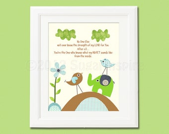 love bird nursery Art Print, 8x10, Room Decor,Wall Art -  Brown, lime green , aqua, elephant nursery, flower, no one  else..