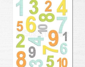 Numbers nursery wall art, Nursery Art Print, UNFRAMED, 8x10 - yellow, orange, blue, green, grey, colorful