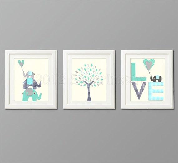 Https Www Etsy Com Listing 118690420 Grey And Blue Teal Nursery Art Print Set