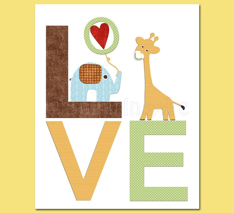 Safari animals Nursery Art Print Set 5x7 Kids Room by SugarInspire