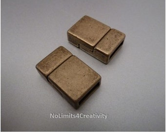 2 zamak 10 mm magnetic clasps bronze color for flat leather (2 clasps) (ZC44)