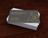 Premade Customized Business Card Organic Curly Green Black Bold