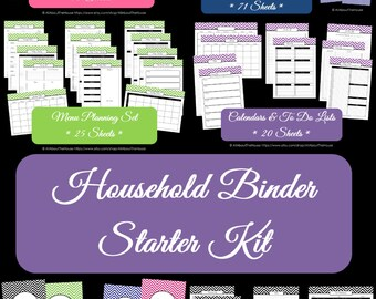 MULTI-COLOURED Household Binder Printables - Home Binder - Starter Planner -Pdf-Chevron Printable-Perpetual-Binder Cover-INSTANT Download