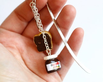 Nutella  polymer clay bookmark with tiny knife and bread miniature food jewelry