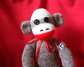 "Sock Monkey - Heart Mom Tattoo - 16"" Handmade Stuffed Animal Toy Doll - Rockford Red Heel Socks"