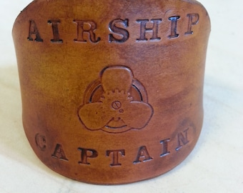Steampunk Airship Captain Leather Cuff Bracelet