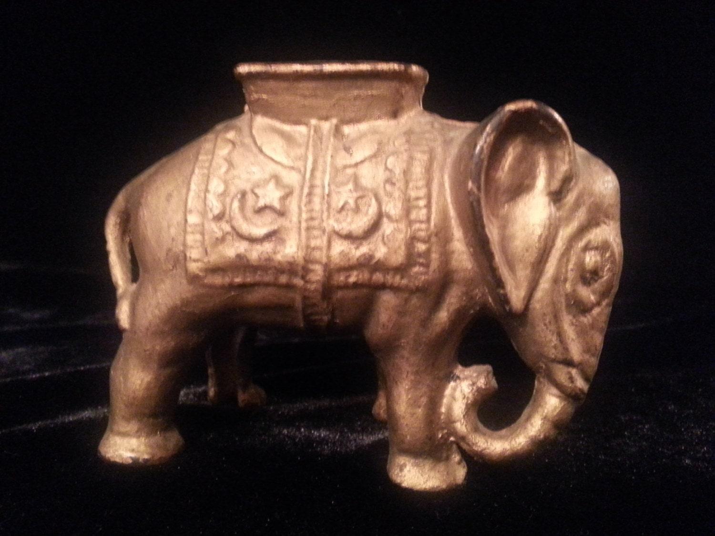 Antique Cast Iron Elephant Coin Bank Figural Sculpture Safe