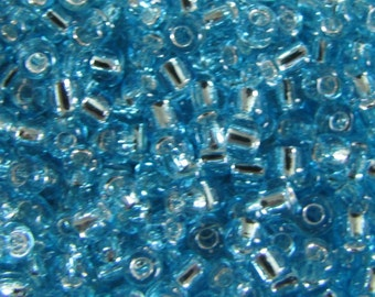 Seed Beads,  6/0 Seed Beads,  Lt Aqua Silver Lined, 10 grams, Aqua Seed Beads, Silver lined Seed Beads,  5140 Japanese Beads