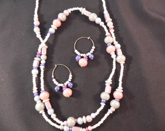 Vintage Necklace & Hoop Earrings Glass Beads Pastel Colors