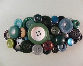 Handcrafted Barrette Made From Vintage Green Buttons
