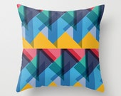 Crazy Abstract Triangles Throw Pillow Cover By Pencil Me In // Blue, Emerald, Mint, Yellow, Red