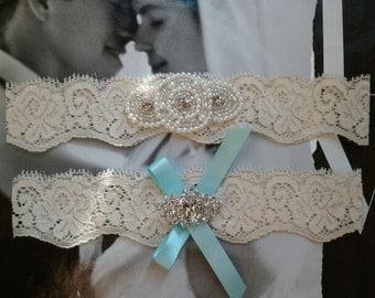 Wedding Garter, Bridal Garter, Garter - Something Blue - Pearl & Cyrstsal Rhinestone on a Ivory Lace - Style G288